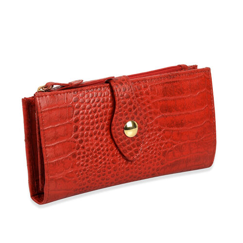 100% Genuine Leather Maroon Red Colour Wallet With RFID (Size 19x2.5x10 Cm)