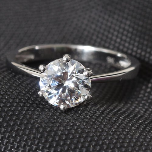 J Francis - 9K White Gold (Rnd 7mm Equivalent 1.25 Cts) Solitaire Ring Made with SWAROVSKI ZIRCONIA