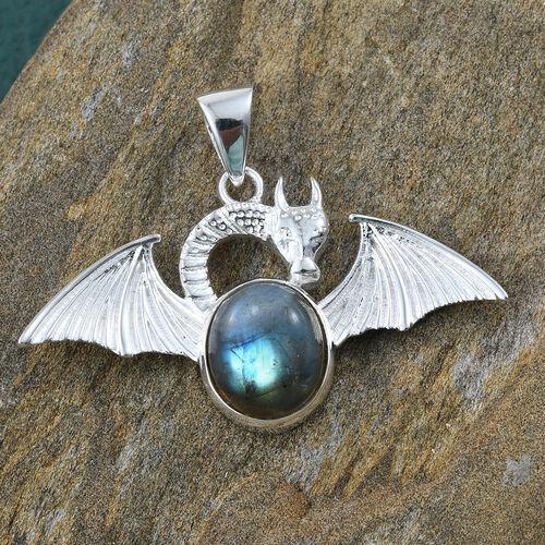 Hand Made Labradorite (Ovl) Dragon Pendant in Sterling Silver 5.510  Ct.