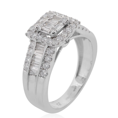 New York Close Out - 14K W Gold Diamond (Bgt and Rnd) (I2/G-H) Ring 1.000 Ct.