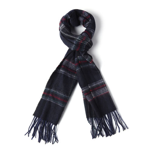 Plaid Pattern  97%Wool Scarf (Size 30x167+8cm) - Navy, Red and Grey