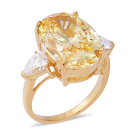 ELANZA Swiss Star Yellow And White Cubic Zirconia Trilogy Design Ring in Gold Plated Silver