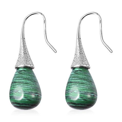 Malachite Bead Drop Hook Earrings in Stainless Steel 33.50 Ct.