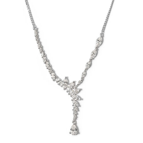 J Francis - Platinum Overlay Sterling Silver (Pear) Necklace (Size 20) Made with SWAROVSKI ZIRCONIA