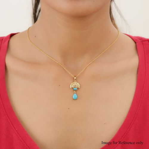Arizona Sleeping Beauty Turquoise and Natural Cambodian Zircon Dangle Pendant in 14K Gold Overlay Sterling Silver 1.36 Ct.