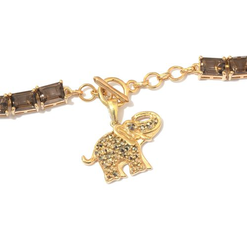 Brazilian Smoky Quartz (Oct), Rare Swiss Marcasite Elephant Charm Necklace (Size 18) in 14K Gold Overlay Sterling Silver 50.750 Ct.