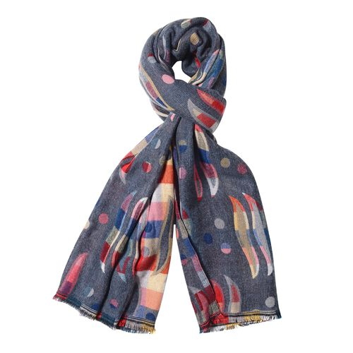 New Season-Dark Grey and Multi Colour Shawl with Rainbow Colour Dot and Flow Mark Reversible Pattern (Size 180x65 Cm)