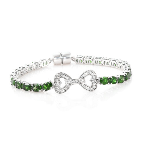 Signature Collection- Russian Diopside (Ovl), Natural Cambodian Zircon Bracelet (Size 7.5) in Platinum Overlay Sterling Silver 12.250 Ct, Silver wt 12.72 Gms.