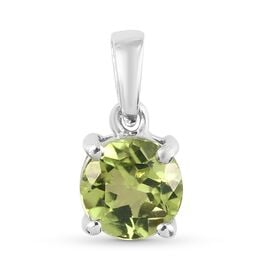 Peridot Pendant in Platinum Overlay Sterling Silver 0.70 ct  0.697  Ct.