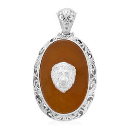 Royal Bali Collection - Yellow Jade Lion Pendant in Sterling Silver 21.00 ct, Silver Wt. 10.00 Gms