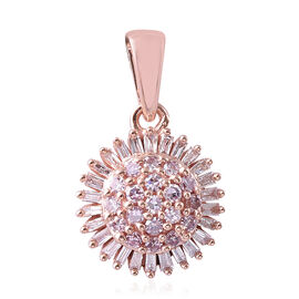0.33 Ct Natural Pink Diamond Cluster Pendant in 9K Rose Gold