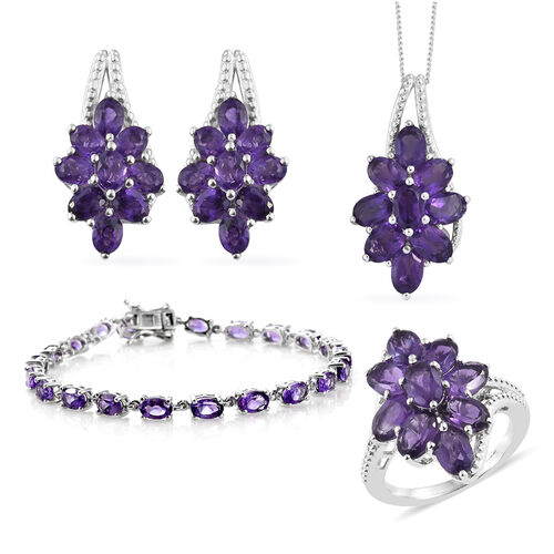 4 Piece Set - Amethyst (Ovl) Ring, Earrings, Bracelet (Size 7.50) and Pendant With Chain in Platinum Overlay Sterling Silver 19.750 Ct.Silver 17.45 Gms