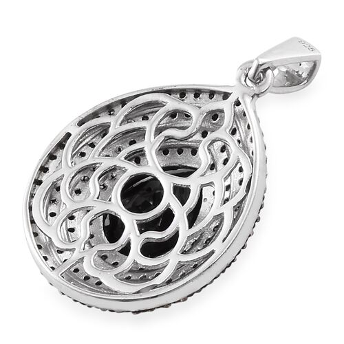 Boi Ploi Black Spinel (Pear 5.75 Ct) Pendant in Platinum Overlay Sterling Silver 8.750 Ct. Number of Gemstone 153