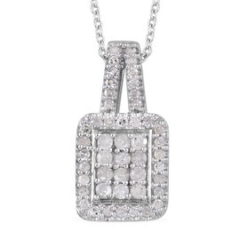 Diamond (Rnd) Pendant With Chain (Size 20) in Platinum Overlay Sterling Silver 0.330 Ct.