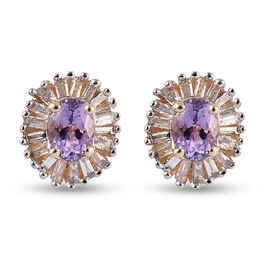 9K Yellow Gold Pink Tanzanite and Diamond Halo Stud Earrings (with Push Back)