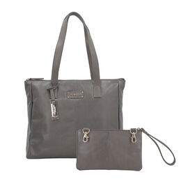 100% Genuine Leather Grey Tote Bag and RFID Wrislet with Zipper Closure