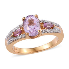 Kunzite (Ovl), Natural Cambodian Zircon and Pink Sapphire Ring (Size R) in 14K Gold Overlay Sterling Silver 2