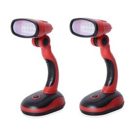 Set of 2 - Red and Black Colour Flexible Desk Lamp with LED Light