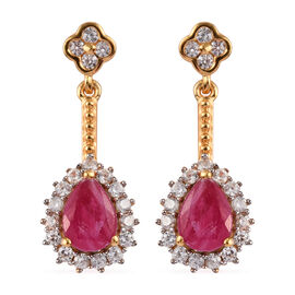 African Ruby and Natural Cambodian Zircon Dangle Earrings (with Push Back) in 14K Gold Overlay Sterl