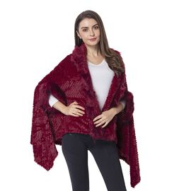 Close Out Deal- Wine Red Colour Faux Fur kimono (Size 155x81 Cm)