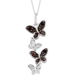 Red Diamond (Rnd), White Diamond Butterfly Pendant With Chain (Size 18)  in Platinum Overlay and Black Plating  Sterling Silver 0.250 Ct.