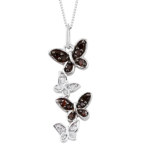Red Diamond (Rnd), White Diamond Butterfly Pendant With Chain (Size 18)  in Platinum Overlay and Bla
