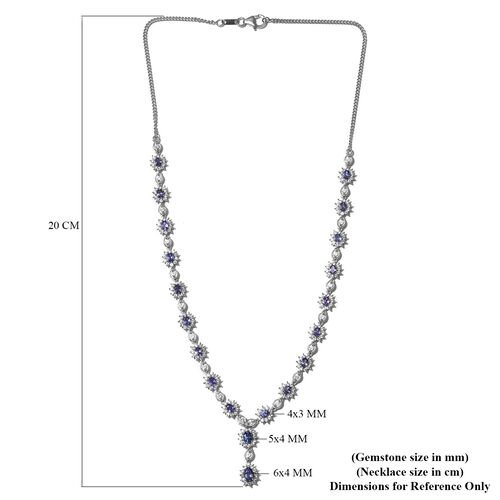 Limited Edition- AAA Tanzanite and Natural Cambodian Zircon Necklace (Size 18) in Platinum Overlay Sterling Silver 12.25 Ct, Silver wt. 13.83 Gms