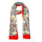 Jacquard Print Scarf (Size 180x50 Cm) - Red and Grey