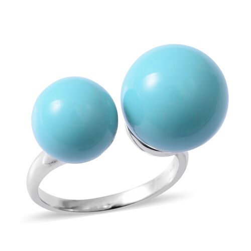 One Time Deal- Designer Inspired- Simulated Turquoise Adjustable Ring in Rhodium Overlay Sterling Silver 18.000 Ct