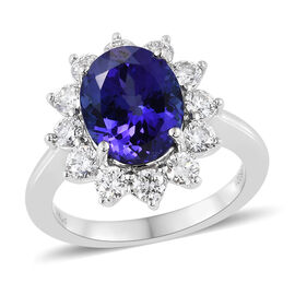 Limited Edition- RHAPSODY 950 Platinum AAAA Tanzanite (Ovl 4.20 Ct), Diamond (VS/E-F) Ring 5.250 Ct., Platinum wt 6.37 Gms.