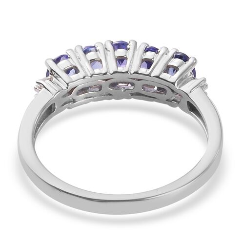 AAA Tanzanite and Diamond Ring in Platinum Overlay Sterling Silver 1.00 Ct.