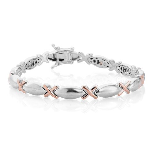 XO Hugs and Kisses Silver Bracelet in Rose Gold and Platinum Overlay (Size 7.25), Silver wt. 17.14 Gms.