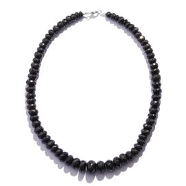 Super Auction- Faceted Boi Ploi Black Spinel (Rnd 6-10 mm) Graduated Necklace (Size 18) in Sterling Silver 460.00 Ct.