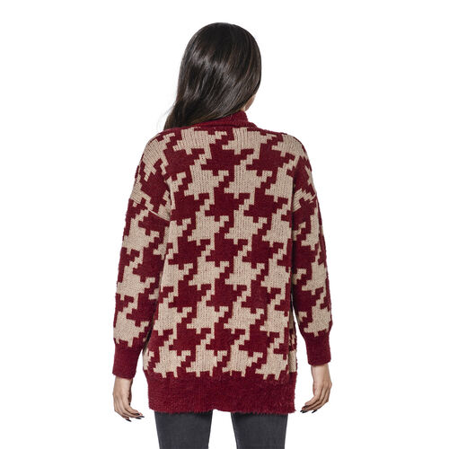 LA MAREY Houndstooth Pattern Red and Beige Cardigan (Size Upto 18)