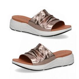 CAPRICE Mule Flat Slippers  Taupe Metallic