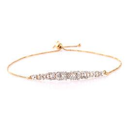 Diamond (Bgt) Adjustable Bracelet (Size 6.5 - 9.5) in 14K Gold Overlay Sterling Silver 0.500  Ct.