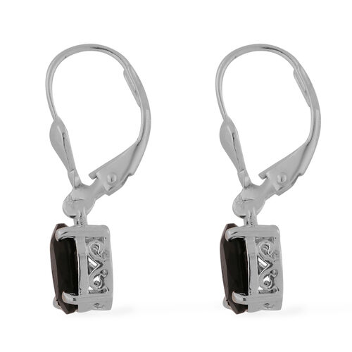 Black Tourmaline Lever Back Drop Earrings in Sterling Silver 2.40 Ct.