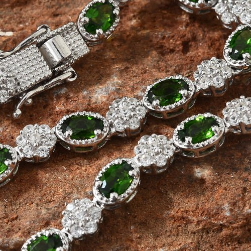 Russian Diopside (Ovl), Natural Cambodian Zircon Necklace (Size 18) in Platinum Overlay Sterling Silver 22.750 Ct, Silver wt 29 Gms, Number of Gemstone 248.