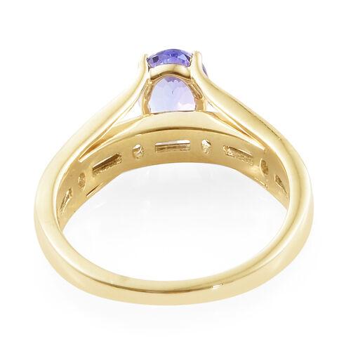 9K Yellow Gold Tanzanite (Ovl), Natural Cambodian Zircon Ring 1.750  Ct.