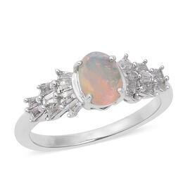 Ethiopian Welo Opal (Ovl), Natural Cambodian White Zircon Ring in Rhodium Overlay Sterling Silver 1.090 Ct.