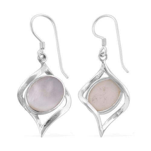 One Time Mega Deal-Royal Bali Collection Mother of Pearl (Ovl), Hook Earrings in Sterling Silver