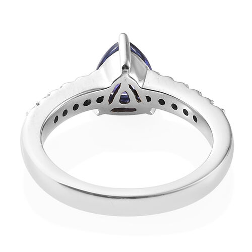 RHAPSODY 950 Platinum AAAA Tanzanite (Trl), Diamond (VS/E-F) Ring 1.300 Ct, Platinum wt 6.06 Gms.