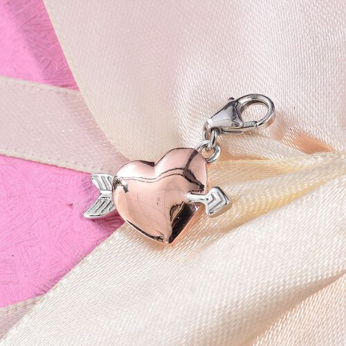 Rose Gold and Platinum Overlay Sterling Silver Heart and Arrow Charm
