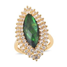 7 Carat Canadian Ammolite and White Zircon Halo Ring in Sterling Silver 7.8 Grams