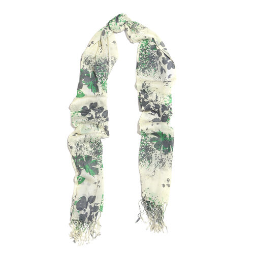 Green and White Colour Floral Printed Scarf with Tassels (Size 180X70 Cm)