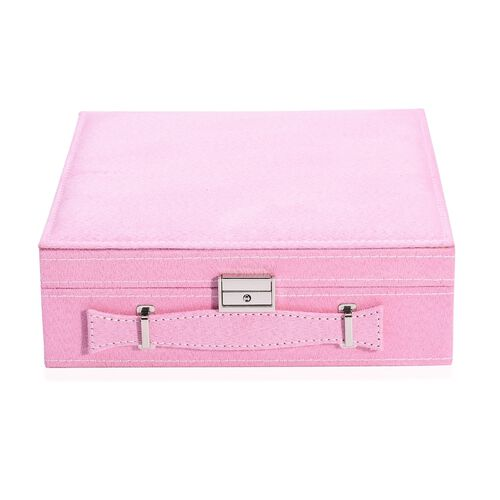 2 Tier Jewellery Box with Handle, 8 Necklace Hooks, Removable Tray, 9 Sections and Multi Storages with Lock and Key Anti Tarnish Lining (Size 26x26x9 Cm) - Pink and Cream Colour