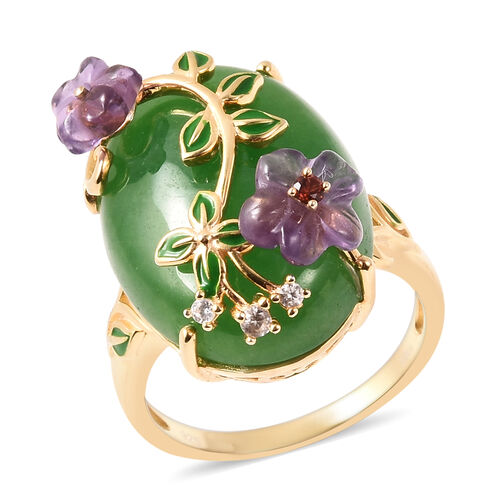 Jardin Collection - Green Jade, Amethyst and Multi Gemstone Enamelled Floral Ring in Yellow Gold Ove