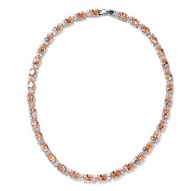 Simulated Champagne and Simulated Diamond Tennis Necklace in Silver Tone 16 Inch