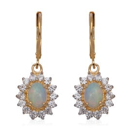 Ethiopian Welo Opal (Ovl 7x5mm), Natural  White Cambodian Zircon Lever Back Earrings in Yellow Gold