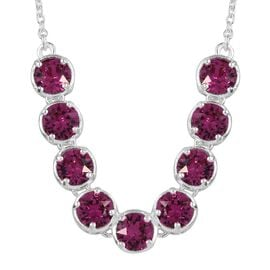 J Francis Crystal from Swarovski - Fuchsia Colour Crystal (Rnd) Necklace (Size 18) in Sterling Silver, Silver wt 5.34 Gms.